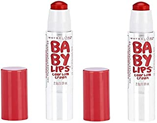 Pack of 2 Maybelline New York Baby Lips Color Balm Crayon, 25 Refreshing Red