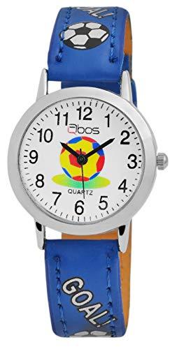 QBOS Kinder – Uhr Lederimitat Armbanduhr Fußball Dornschließe Analog Quarz 4900001 (Blau)