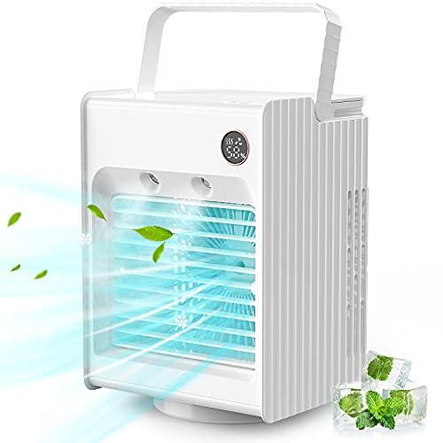 Condizionatore Portatile Mini Raffreddatore D'aria con Umidificatore, 3 Velocità,Oscillazione 120 ° con luce notturna per ufficio e casa