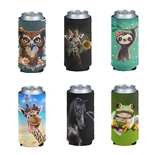 Kuiaobaty Fundas de neopreno para enfriador de cerveza de 12 onzas de alta calidad para latas de cerveza con diseño de jirafa, 6 unidades
