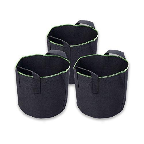 Schramm® 3 Stück 20 Liter Pflanzsäcke aus Vliesstoff Pflanzsack 3 Stück Garten Sack aus Fliesstoff zum Bepflanzen Pflanzgefäß Pflanzbehälter Pflanzbeutel 3er Pack