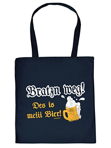 Lustige Baumwolltasche - bayrischer Dialekt - Mundart : Bratzn/Bratzn Weg ! des is meiii Bier ! - Goodman Design - bayrische Sprüche Tasche Farbe: Navy-blau