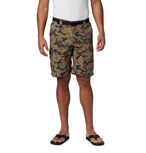 Columbia Silver Ridge Pantalón Corto de Carga Estampado de Color Plateado, Hombre, Silver Ridge Pantalón Corto Cargo Estampado, 158703, Camuflaje ciprés, 32x12