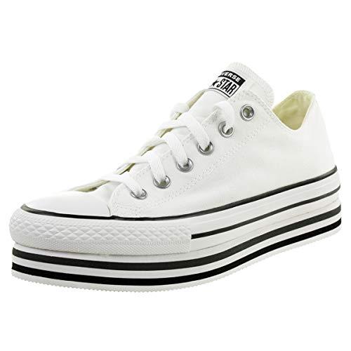 Converse Sneakers Ctas Platform Layer Ox Bianco Nero Grigio 563971C (36 - Bianco)
