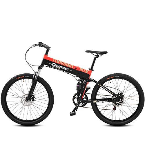GTYW, Eléctrico, Plegable, Bicicleta, Montaña, Bicicleta, Ciclomotor Adulto, 70KM Y 1W Km Carga Gratis Dos Versiones,Orange-10000km