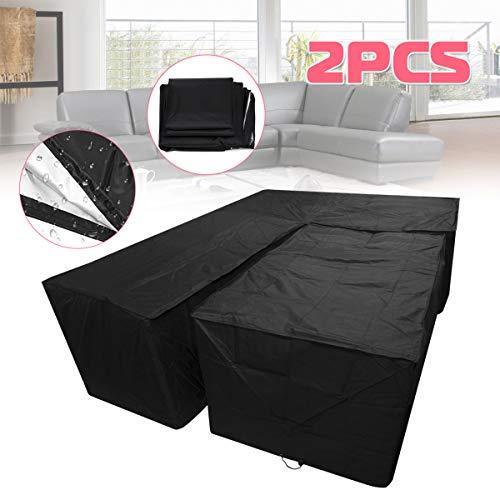 KING DO WAY 2PCS Housse pour Mobilier Noir Étanche Anti-poussière en Polyester, Bâche Couverture de Protection Meuble Sofa Table Salon Intérieur Jardin Extérieur