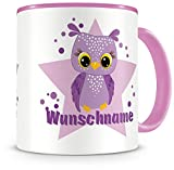 Samunshi® Kinder-Tasse mit Namen und einer lila Eule als Motiv Bild Kaffeetasse Teetasse Becher Kakaotasse Nr.7: rosa H:95mm / D:82mm