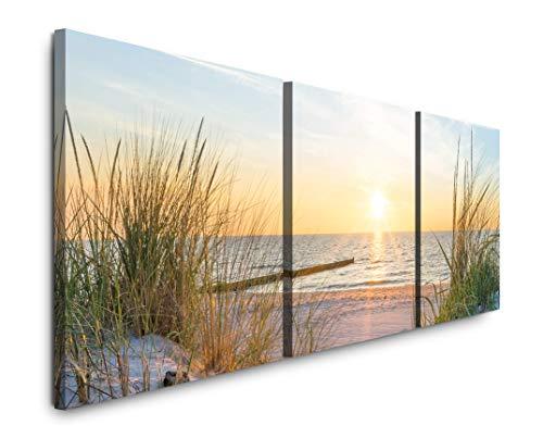 EAUZONE GmbH Sonnenuntergang an der Ostsee 220 x 70cm - 3 Bilder je 70x70cm Bild XXL Panorama Deko Wandbilder auf Leinwand
