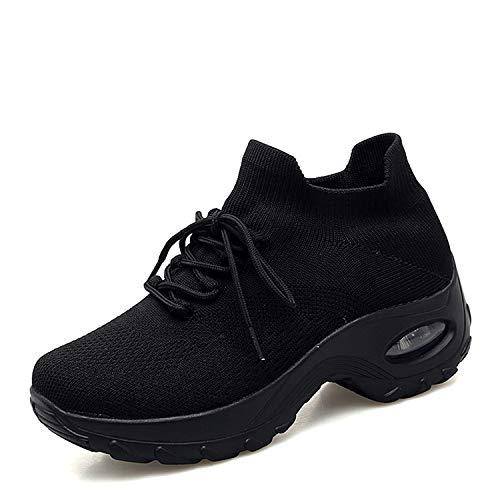 Zapatos Deporte Mujer Zapatillas Deportivas Correr Gimnasio Casual Zapatos para Caminar Mesh Running Transpirable Aumentar Más Altos Sneakers Negro Gris Morado Rojo 35-43 Negro 38