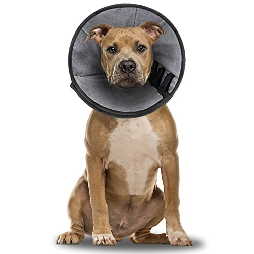 Dog Cone Soft Dog Cone Collar After Surgery,Adjustable Protective Dog Cones for Large Dogs,Comfortable Dog Recovery Cone with Velvet Lining,Prevent Pet Biting Licking Scratching and Wound Healing