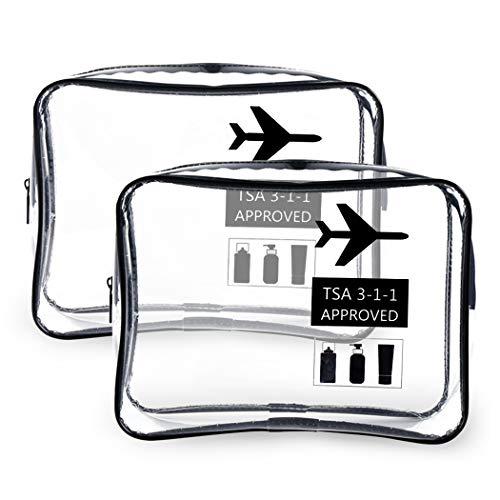 Neceser Transparente, Kit Viaje Avion, Transporte de Líquidos en Avión, Bolsa Aseo Claro, Bolsa de Cosméticos Impermeable para Hombre y Mujer Negro