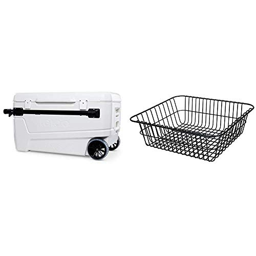 Igloo 110 Qt Glide Pro Portable Large Ice Chest Wheeled Cooler & Wire Basket for 90 Qt Rotomold Coolers, Black (20166)