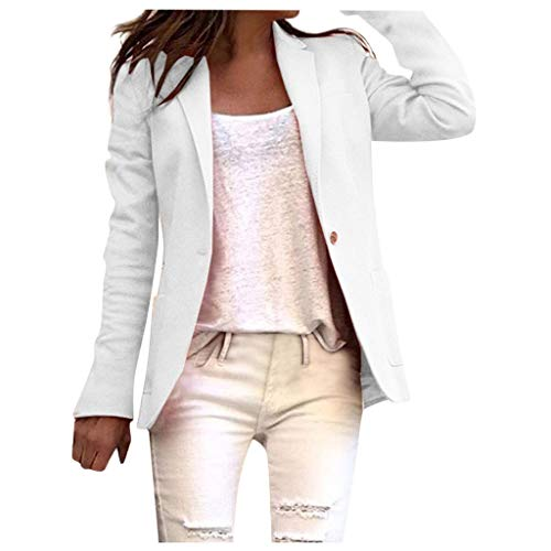 HuaCat Damenanzug Übergangsmantel Kurzmantel Langarm Blazer Sakko Einfarbig Slim Fit Revers Geschäft Büro Jacke Kurz Mantel Anzüge Bolero mit Tasche
