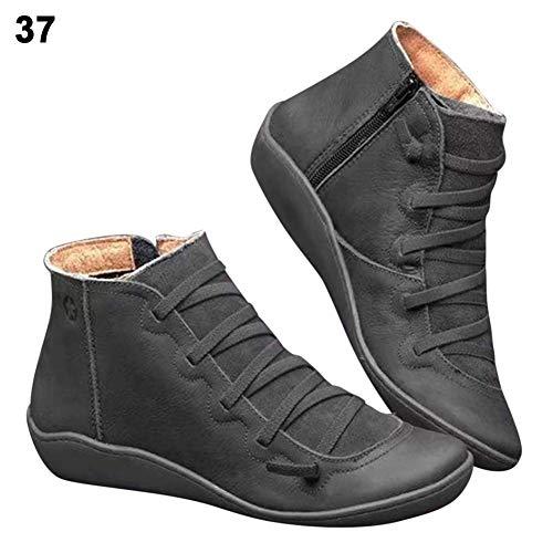 belukies Kunstleder Stiefeletten Herbst Vintage Schnürschuhe, Damen Bequeme Flache Fersenstiefel Reißverschluss Kurzer Boot,Schwarz 38
