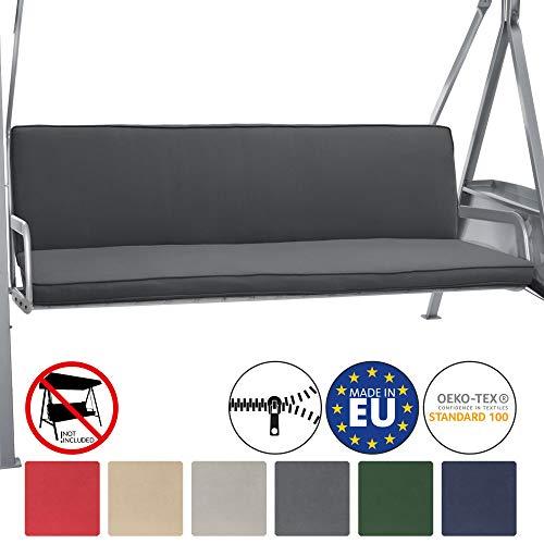 Beautissu Hollywoodschaukel Auflage Loft HS 180x50cm Auflagen für 3-Sitzer Hollywoodschaukel mit Rücken-Kissen Graphitgrau erhältlich
