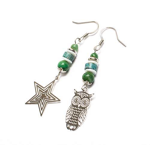Kimaya Bijoux - Pendientes artesanales asimétricos, jade nácar y crisocola, diseño de búho estrella con ganchos, plata 925