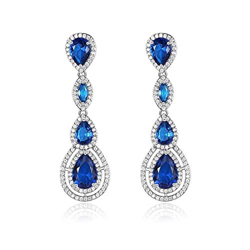 GXFNS Pendientes de plata de ley 925 con forma de gota larga de circonita para mujer, pendientes de cristal, hipoalergénicos, magníficos, chapados en plata, para joyas de boda, color azul