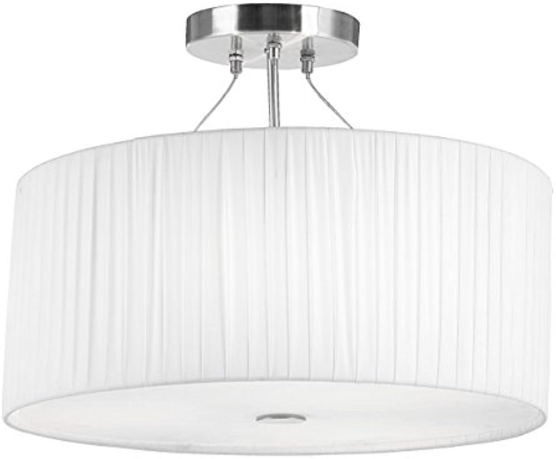 Deckenleuchte   Deckenlampe, aus Nickel matt und weiem Plissee, Glas transparent,  45 cm, Hhe 36 cm