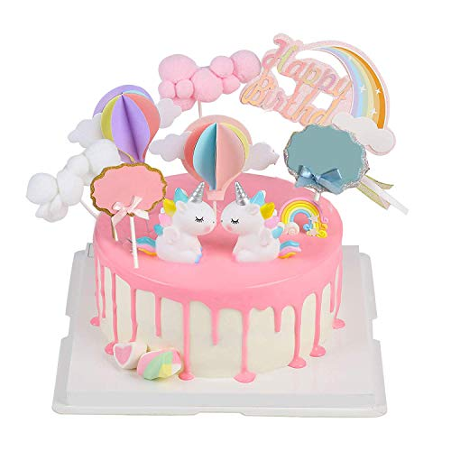 Unique Store Cloud Rainbow + Unicorn Cake Toppers Kit Cake Decoration For Kids Girls Birthday Baby Shower Party Set