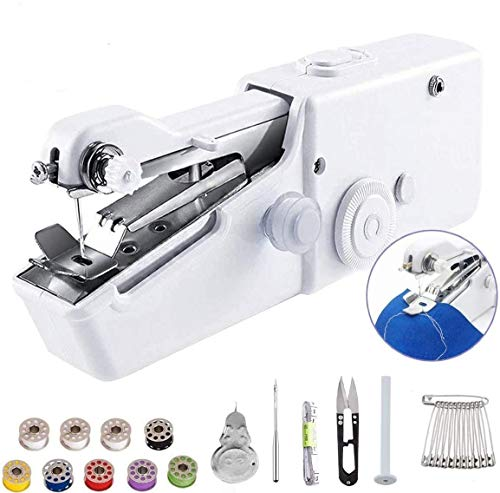 SANGE Mini Sewing Machine, Portable Electric Handheld Sewing Machine for Kids/Beginners to Quick Handy Stitch Clothes for Home or Travel Use