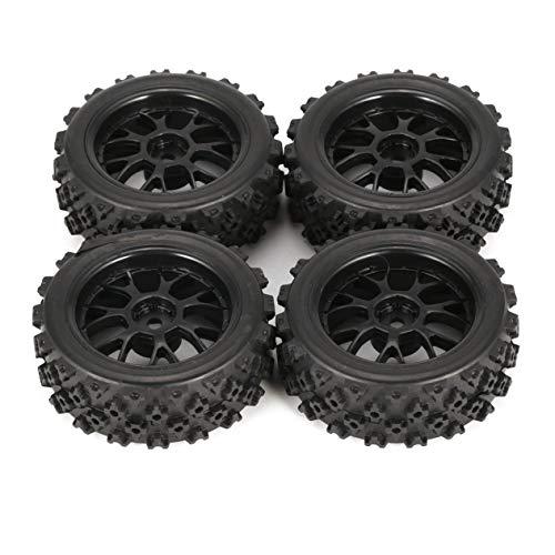 4 Piezas 70 mm Star Word Fetal Flower Off-Road Wheel Rim y neumáticos para HSP HPI 9068ALL 1/10 HSP 94123/94122/94103 / D4 / D3-Black(BCVBFGCXVB)