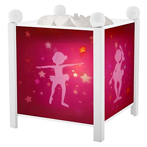 Trousselier - Ballerina - Nachtlampje - Magische lantaarn - Ideaal geboortegeschenk - Kleur hout wit - geanimeerde foto's - kalmerend licht - 12V 10W gloeilamp inclusief - EU-stekker