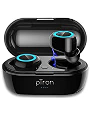 pTron Bassbuds in-Ear True Wireless Bluetooth 5.0 Headphones with Hi-Fi Deep Bass, 20Hrs Playtime with Case, Ergonomic Sweatproof Earbuds, Noise Isolation, Voice Assistance & Built-in Mic - (Black)