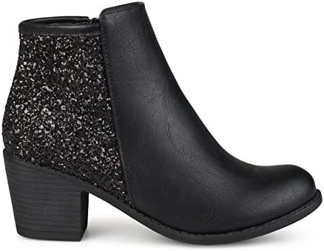 Brinley Co Womens Faux Leather Wood Stacked Heel Glitter Booties Black 9 Regular US product image