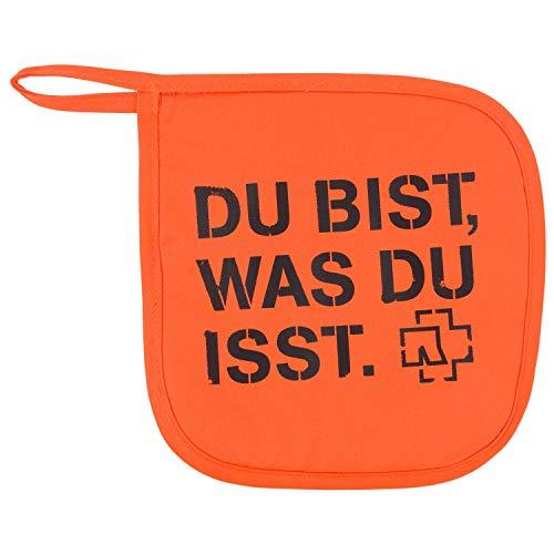 """Rammstein Topflappen """"Du bist."""" orange, Offizielles Band Merchandise"""