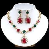 KUNHAN Juegos de Joyas Mujer Set de Joyas de Boda Nupcial Pendientes de Color Oro Collar Conjunto para Mujeres Red/Verde Resina Inlaid Retro Retro Vestido Noble Regalo