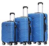 BEIBYE - TSA Schloß 2035 Hartschale Reisekoffer Koffer Handgepäck Trolley (Diamonblau, Set)