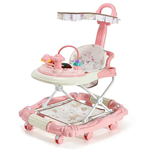 Tsosginaog Baby Walkers - Toddler Walker with 6 Wheels,Stand Up and Walking Learning Helper for Baby,Anti-Rollover Walker for Girls & Boys,Pink,C