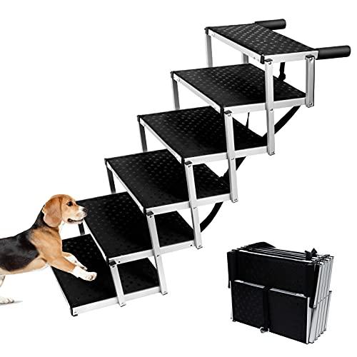 6 Pasos Rampa para Perros Grandes y Pequeños Resistentes Rampa Grandes para Perros para Coche Cargable Hasta 90 kg - Errum, Rampa para Perros Portátil para Todos los Vehículos (106x80x43CM)