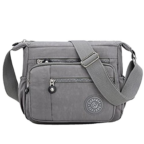 Womens Multi Pocket Casual Cross Body Bag Travel Bag Messenger Handbag for Shopping Hiking Daily Use (Grey)