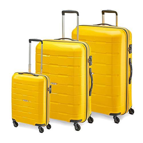 MODO by Roncato Set De 3 Maletas Rigida 4 Ruedas Delta, 111 70 38 Lt - 76x54x29 68x46x26 55x40x20 cm, Ligero Organización Interna Cierre TSA, Garantia 2 Anos