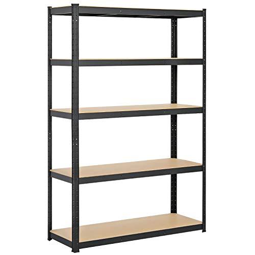 Yaheetech 5-shelf Storage Shelving Unit, Heavy Duty Commercial Shelves Metal Rack Shelf Height Adjustable Storage Racks for Garage Warehouse Kitchen, 47.2 x 17.7 x 71in