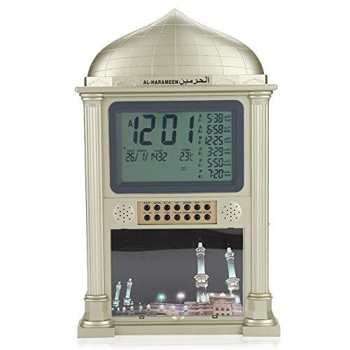 Azan Wecker, islamisches Gebet Harameen Digital Erinnerungswecker Wanduhr, dekorative Uhr, Kalender-Zeitanzeige, für Zuhause/Büro/Moschee.(Grau/Gold)(Gold)