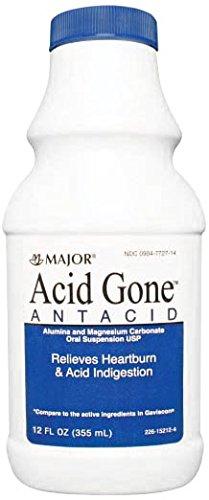 Major Pharmaceuticals 264978 Acid Gone Antacid Liquid, Compare to Gaviscon, 12 oz. Volume, Spearmint, Light-Green