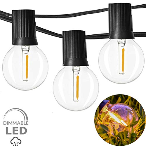 Newpow LED Outdoor String Lights 48ft with 25 Dimmable IPX6 Waterproof G40 LED Globe Bulbs - Clear Glass, 1W 60LM 2200K Warm Glow for Indoor/Outdoor Commercial Decoration and Lighting - Black