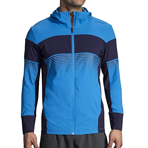 Brooks Men's Canopy Jacket, Black/Black Stripe, X-Large
