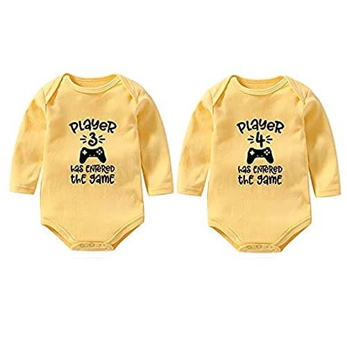 YSCULBUTOL Baby Twins Player 3 Player 4 Has Entered The Game Bodysuit Funny Twins Outfit Boy Girl Shower Gifts -  Amarillo -  4-6 meses