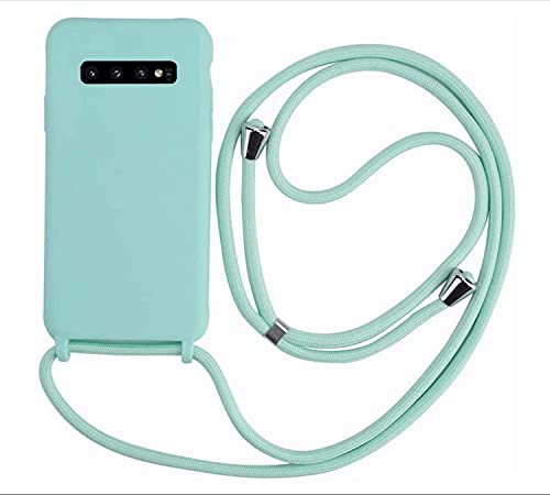 MEIVS Funda Compatible con Samsung Galaxy S10 Plus, Ajustable Collar Correa de Cuello CordónCarcasa de Silicona-Verde Claro