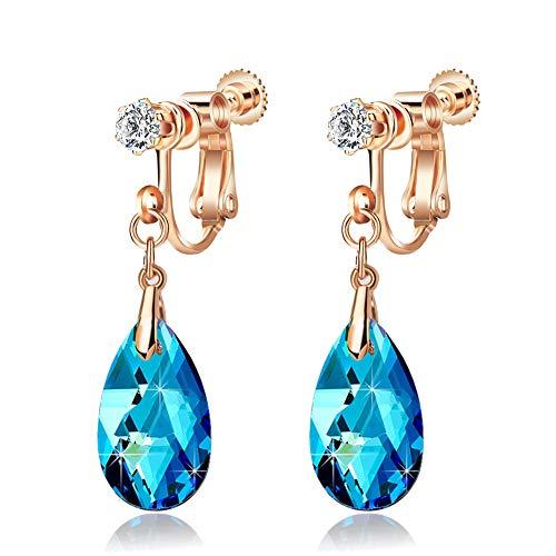 Teardrop Swarovski Crystal Drop Clip On Dangle Earrings for Women Non Pierced 14K Rose Gold Plated Hypoallergenic Jewelry (Bermuda Blue)
