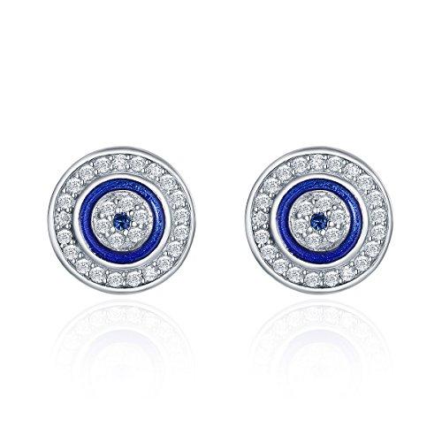 Pendientes redondos plata ley 925 ojo azul mujeres