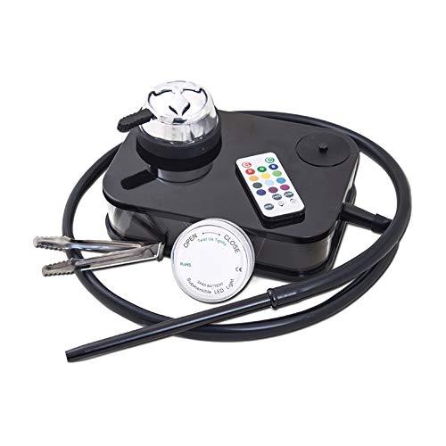 BTOPER Cachimba kit completo Portátil Juego de cachimba Shisha con LED de Control Remoto Acrílico Hookah Incluya Clip Pipe Fumar Hookah Accesorios