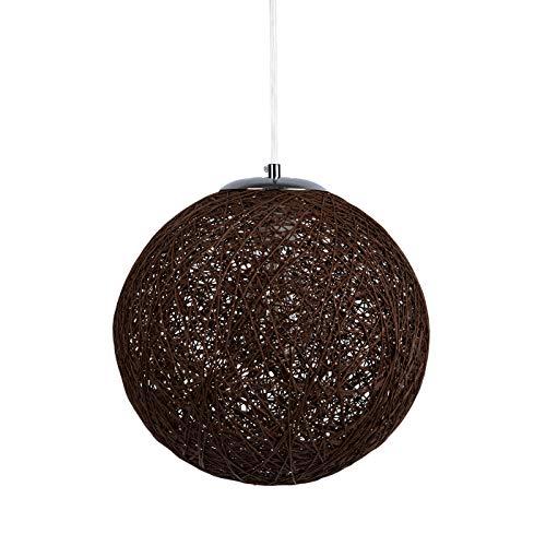 Huahan Haituo Modern Black Lattice Wicker Rattan Globe Ball Style Techo Colgante Pantalla de luz Home Dining Decoration Lamps (Marrón, 28cm)