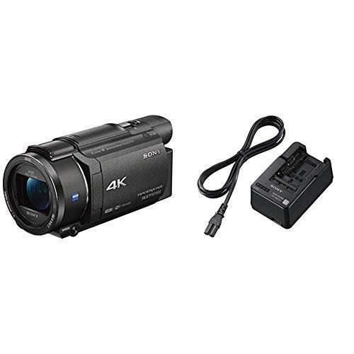 Sony FDR-AX53 - 4K Ultra Handycam (20-Fach optischer Zoom, 5-Achsen Bildstabilisation, NFC) schwarz & BC-QM1 Akku-Ladegerät für W,M,V,H, P Serie (1500mA, USB)