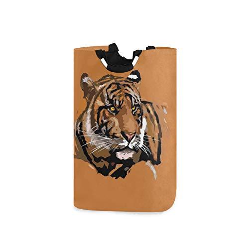 LOSNINA Wäschesammler Wäschekorb Faltbarer Aufbewahrungskorb,Exotischer Tiger mit Retro-Farben Hunter African Wild Nature Icon,Wäschesack - Wäschekörbe - Laundry Baskets