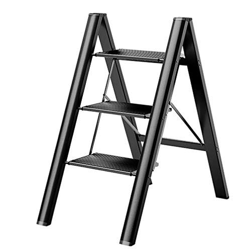 ZKHD Haushalt Dreistufiges Tragbare Ladder Hocker, Multifunktional Dicke Aluminiumlegierung Klappleiter, Fischgrät Ladder Blumen Regal,Schwarz