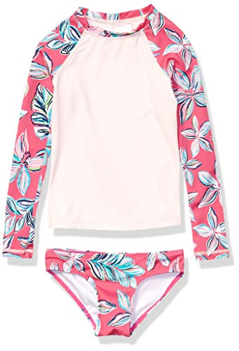 Kanu Surf Girls' Big Long Sleeve Rashguard Two Piece Swim Set, Charlotte Pink, 10